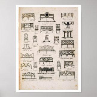 Diseños para los asientos de jardín, 'de un compen póster