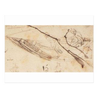 Diseños para un barco de Leonardo da Vinci Tarjetas Postales