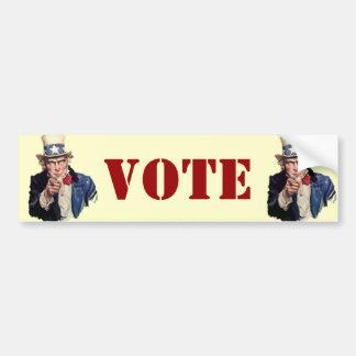 Diseños patrióticos del VOTO del tío Sam Etiqueta De Parachoque