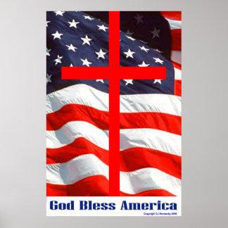 """Diseños patrióticos - """"dios bendice América """" Póster"""