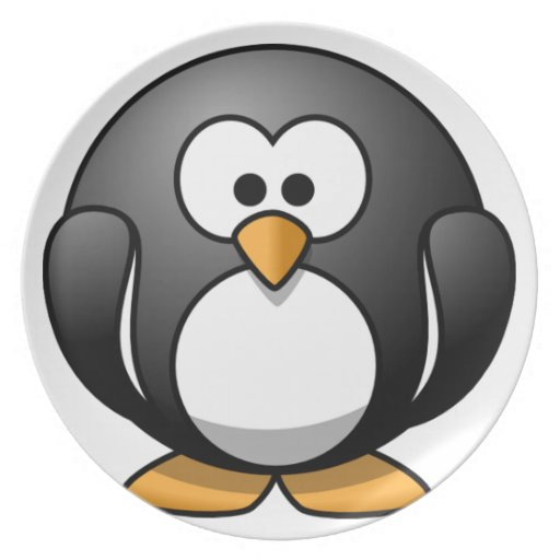 Diseños redondos lindos del pingüino platos de comidas