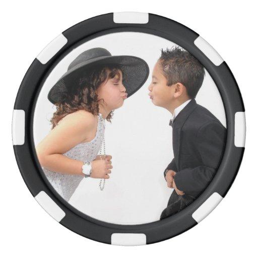 Diseños románticos juego de fichas de póquer