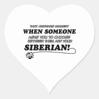 Diseños siberianos del gato pegatina en forma de corazón