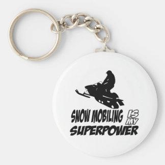 Diseños Snowmobiling Llavero Redondo Tipo Pin
