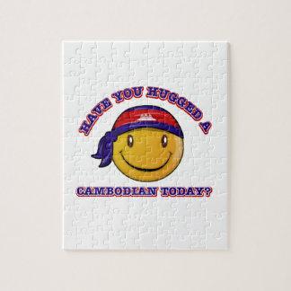 Diseños sonrientes de la bandera de Camboya Rompecabeza Con Fotos