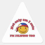 Diseños sonrientes de la bandera de Filipinas Pegatina Triangular