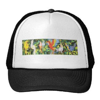 Diseños tropicales de los pájaros gorras