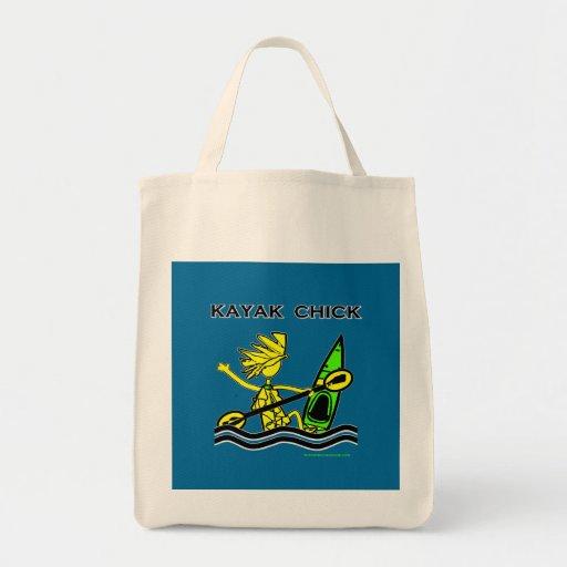 Diseños y cosas del polluelo del kajak bolsa tela para la compra