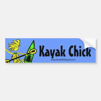 Diseños y cosas del polluelo del kajak pegatina de parachoque