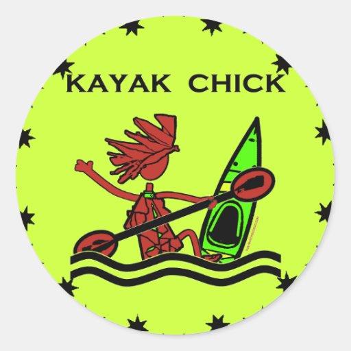 Diseños y cosas del polluelo del kajak pegatina redonda