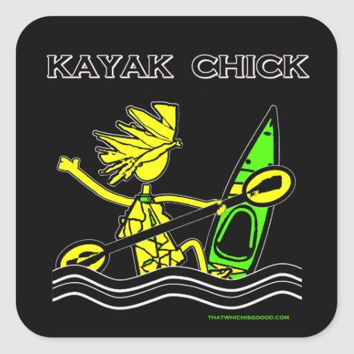 Diseños y cosas del polluelo del kajak pegatina cuadrada