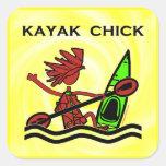 Diseños y cosas del polluelo del kajak colcomanias cuadradass