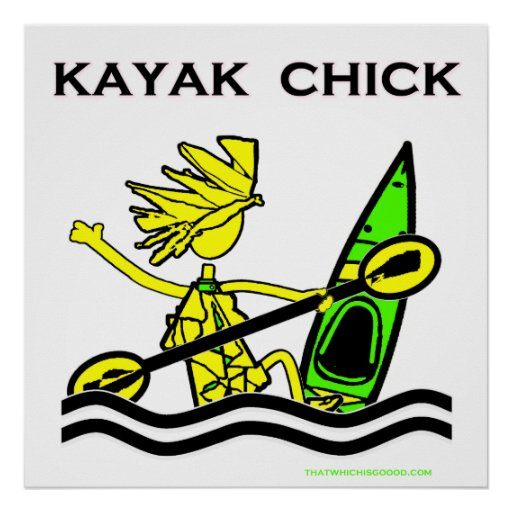 Diseños y cosas del polluelo del kajak póster