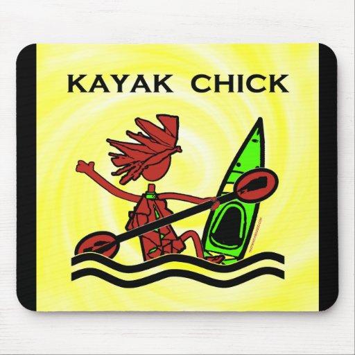 Diseños y cosas del polluelo del kajak alfombrilla de ratones