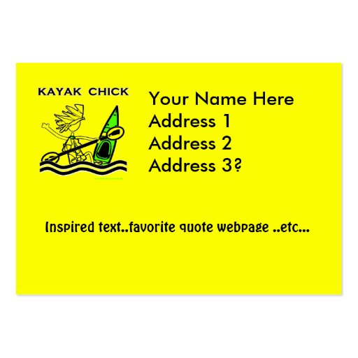Diseños y cosas del polluelo del kajak tarjeta de negocio