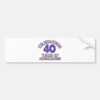 diseños y regalos del cumpleaños de 40 años etiqueta de parachoque