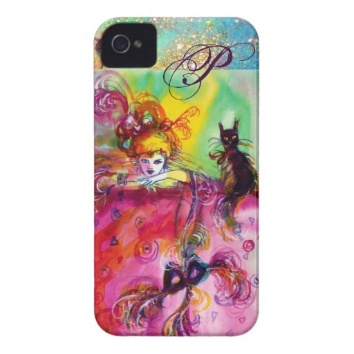 DISFRACE LA NOCHE/EL MONOGRAMA DEL CAT NEGRO DE SE Case-Mate iPhone 4 PROTECTOR