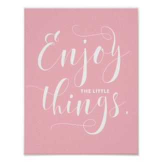 Disfrute de la pequeña caligrafía moderna rosada póster
