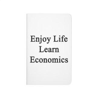 Disfrute de la vida aprenden la economía cuaderno grapado