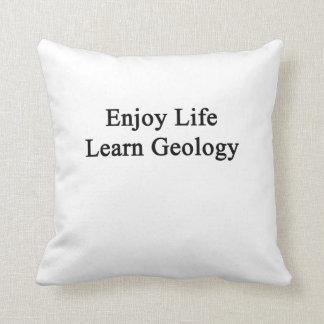 Disfrute de la vida aprenden la geología cojin