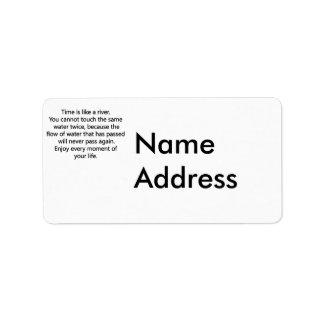 Disfrute de la vida etiqueta de dirección