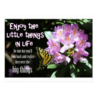 Disfrute de las pequeñas cosas en vida tarjeta postal