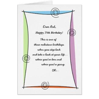 Disfrute del 75.o cumpleaños del momento tarjeta de felicitación
