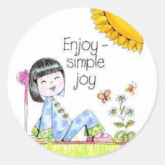 Disfrute del pegatina simple de la alegría