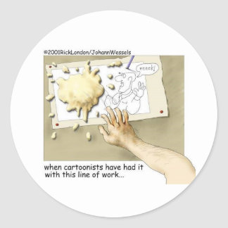 Disgruntled Cartoonist Funny Gifts & Collectibles Classic Round Sticker