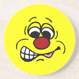 Disgruntled Employee Smiley Face Grumpey Drink Coaster