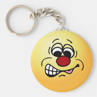 Disgruntled Employee Smiley Face Grumpey Keychain
