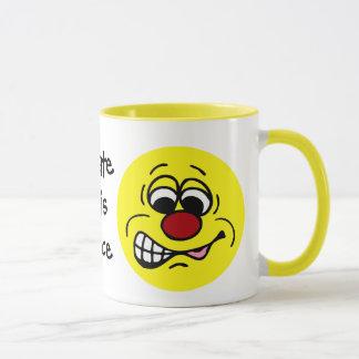 Disgruntled Employee Smiley Face Grumpey Mug