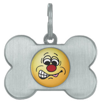 Disgruntled Employee Smiley Face Grumpey Pet ID Tag