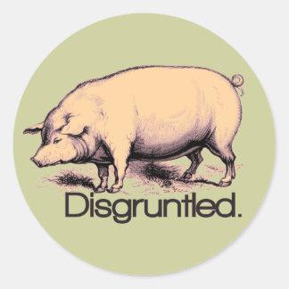 Disgruntled Pig Classic Round Sticker