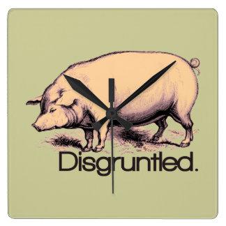Disgruntled Pig Square Wallclocks