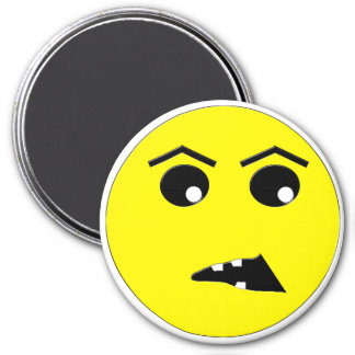Disgruntled Smiley 3 Inch Round Magnet