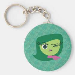 Basic Button Keychain with Cute Cartoon Disgust from Inside Out design