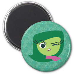 Round Magnet with Cute Cartoon Disgust from Inside Out design