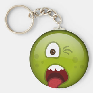 Disgusted Green Basic Round Button Keychain