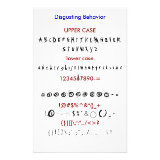 Disgusting Behavior Stationery Paper