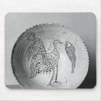 Dish decorated with birds mouse pad