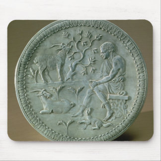 Dish depicting herdsman, goats and dog mouse pad