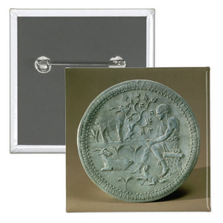 Dish depicting herdsman, goats and dog pinback button