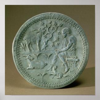 Dish depicting herdsman, goats and dog poster