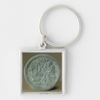 Dish depicting herdsman, goats and dog Silver-Colored square keychain