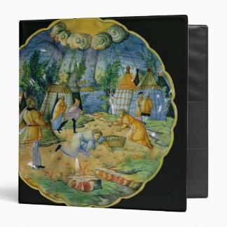 Dish depicting the gathering of manna 3 ring binder