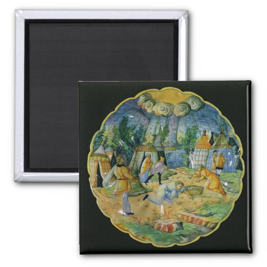 Dish depicting the gathering of manna magnet