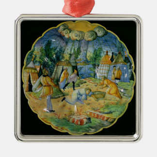 Dish depicting the gathering of manna ornament