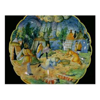 Dish depicting the gathering of manna postcard