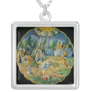 Dish depicting the gathering of manna silver plated necklace